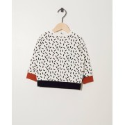 Bumba Witte sweater van biokatoen Bumba met allover print