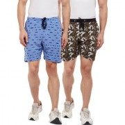 Vimal-Jonney Ripped Look Sky Blue And Camouflage Olive Green Shorts For Men(Pack Of 2)