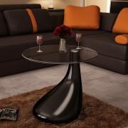 vidaXL Маса за кафе с кръгъл стъклен плот, силен гланц, черна
