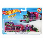 Set camion si masina sport, Hot Wheels Car-nival Steamer