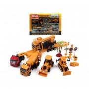 Caja set de construccion extra grande con 15 piezas entre maquinas, camiones y accesorios