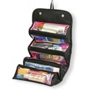 BRANDSHOPPY Roll N Go Cosmetic Bag Travel Toiletry Kit(Black)