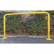 Fahrradanlehnbügel, 850 mm über Flur zum Aufdübeln U-förmig, Breite 1500 mm, gelb