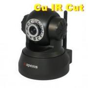 Camera IP Wireless Apexis cu filtru de culoare, Pan / Tilt / Audio - Negru
