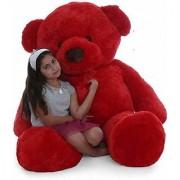 Teddy Bear 5 Feet Stuffed Spongy Huggable Cute Teddy Bear Birthday Gifts Girls Lovable Special Gift High Quality - Red