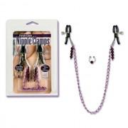 Nipple Clamps Purple Chain w/Navel Ring