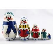 Matryoshka Matrioska Babuska Russian Nesting Wooden Doll Family of Snowman Matreshka Babooshka 5 Pc Stacking Hand Painting Beautiful Nested Matriosjka Matrioska Matreshka Matrjoska Matroeska