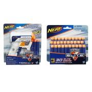 Bundle: Nerf N-strike Elite Triad Ex-3 Blaster White(1) Pack of N-strike Elite Suction Darts(30 Dart