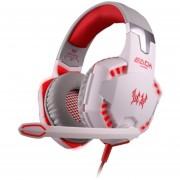 Audífonos Gamer, Gaming Auricular Estéreo Del Juego De La PC Del Auricular Del Casco Del Teléfono Del Oído Del Juego G2000 (rojo Blanco)