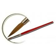 Pensula maner lemn, vopsit rosu, rotunda, marimea 6, art. nr.: 40006