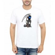 DOUBLE F ROUND NECK HALF SLEEVE WHITE COLOR SCARING CARTOON PRINTED T-SHIRTS