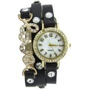 7Star Black love diamonds studded on case leather belt Analog Watch - For Women