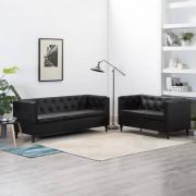 vidaXL Set canapele, 2 piese, negru, tapițerie piele ecologică