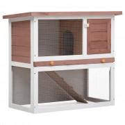 vidaXL Външна клетка за зайци, 1 врата, кафява, дърво