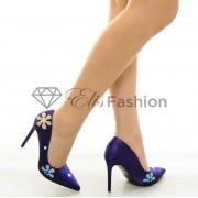 Pantofi Sweet Flowers DarkBlue #6846