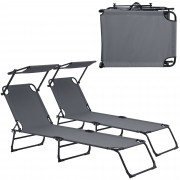 [casa.pro]® Ležaljka za sunčanje - set od 2 kom. - sa sjenilom - ležaljka za plažu - tamno sivo