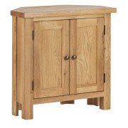 Harperley Oak Corner Cupboard Fully Assembled