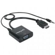 Manhattan Cavo Convertitore da HDMI a VGA con Audio e MicroUsb 30cm Nero