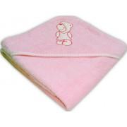 Prosop bebe cu gluga brodata roz