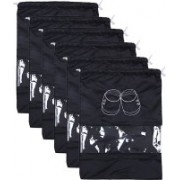 Kuber Industries Shoe Printed Parachute Waterproof 6 Pieces Shoe Cover/Shoe beg (Black)-CTKTC13393 CTKTC013393(Black)