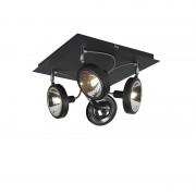 QAZQA Design spot zwart 4-lichts op vierkante plafondplaat - Nox