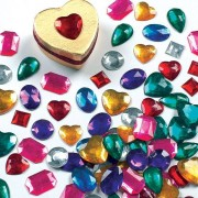 Baker Ross Acrylic Gems - 120 Crystal Stickers in 6 colours & assorted shapes. Size 15mm-25mm