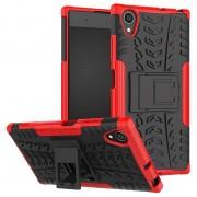 Capa Híbrida Antiderrapante para Sony Xperia XA1 Plus - Vermelho / Preto