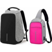 Set Rucsac laptop antifurt maxim 15.6 cu port USB de incarcare gri plus mini-Rucsac roz