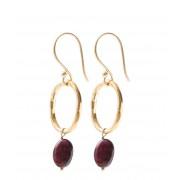 A Beautiful Story Oorbellen Graceful Garnet Gold Plated Earrings Rood
