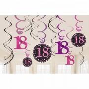 Hangdecoratie 18 jaar stijlvol roze-paars-zwart
