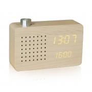 Gingko Radio Click Clock Radiowecker - Ahorn / LED gelb - 17,9 x 10,5 cm - Tiefe 5,4 cm