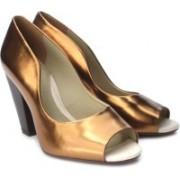 Clarks Women Gold Leather Heels