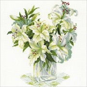 """White Lilies Counted Cross Stitch Kit - 17.75""""X17.75"""" 14 Count (Pack of 1 )"""
