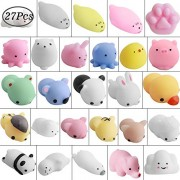 Hicdaw 27 Pcs Mochi Stress Squishy Octopus Relief Animals Mini Squishies Seal Animal Toys