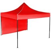 Gyorsan összecsukható sátor 3x3 m – acél, Piros, 1 oldalfal