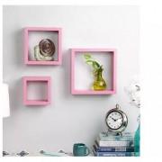 Onlineshoppee Square Nesting MDF Wall Shelf set of 3 Pink