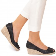 Pantofi dama Jardyn cu platforma si varf decupat, Negru 39