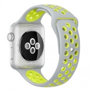 Curea Sport Perforata, compatibila Apple Watch 1/2/3/4, Silicon, 38mm/40mm, Gri / Galben
