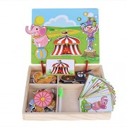 Childplaymate Baby Wooden Magnetic Puzzle Board Dress Up Games Children Educational(03)