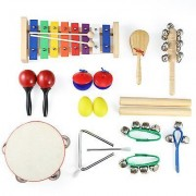 Moms Trust Moms Trust Kids 11 PCS Mini Musical Instruments & Percussion Wooden Xylophone Toy Rhythm Band Set