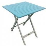 CITY GREEN Table carrée en acacia bicolore burano lin/bleu