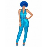 Vegaoo Blauw eendelig disco kostuum voor vrouwen L