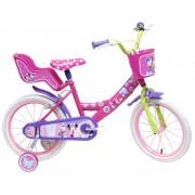"""Bicicleta pentru fete ajustabila din otel cu roti ajutatoare 16"""" Denver Minnie Mouse"""