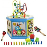 TOAOB Wooden Learning Bead Maze Cube Activity Center Six Sided With Maracas And Bells for Kids Gift