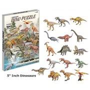 Top Race® 3D Puzzle, Dinosaur Puzzle, No Glue, No Scissors, Easy to Assemble 16 Dinosaurs. (91 Pieces)