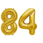 De-Ultimate Solid Golden Color 2 Digit Number (84) 3d Foil Balloon for Birthday Celebration Anniversary Parties