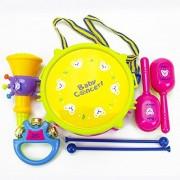 Qiyun Hand Drums 6Pcs/Set Baby Boy Girl Musical Instruments Drum Set Puzzle Educational Colorful Music Toys Kids Giftcolour:Trumpet [5 pcs A-PVC Bag]