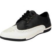 FAUSTO Black White Men's Brouge Sneakers