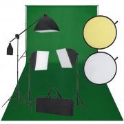 vidaXL Kit de estúdio: pano verde de fundo, 3 lâmpadas de luz diária