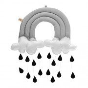 Toyvian Nursery Ceiling Mobile Baby Crib Mobile Hanging Raining Clouds Water Drop Decorations for Baby Bedroom Decor (Gray Cloud Black Raindrop)